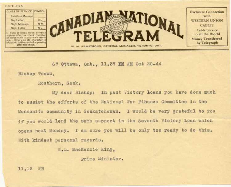 Telegram From WL MacKenzie King Prime Minister Of Canada To Bishop